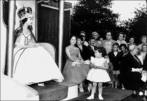 1958 Queen Pat Johnson at her crowning. Jennifer Smith is the attendant