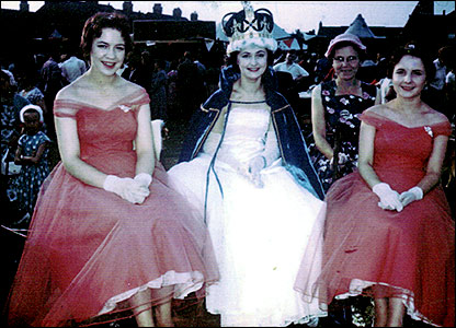 At the Recreation Ground in 1958 - Kay Jempson, Queen Pat Johnson, Mrs Morby and Jennifer Smith
