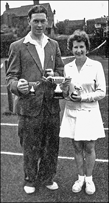 Stan Bettles and Irene Aldwinkle - Burton Latimer Tennis Club Pairs Champions - mid 1950's