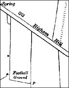 Football ground beside Higham Hill, as marked on the 1938 Ordnance Survey map