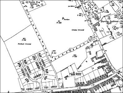 The location of the football and cricket grounds in 1925