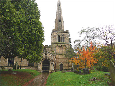 Photograph of St Mary's Church showing tower and steeple