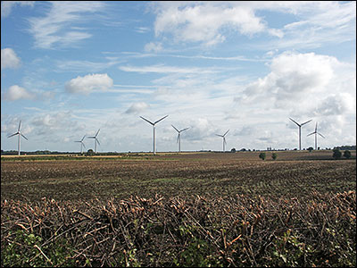 Photograph of the Wind Farm showing 8 of the 10 turbines