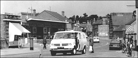Photograph showing Church Street Autos Showroom in the High Street (behind the van in the foreground) in 1972