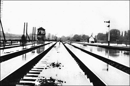 Photographs showing the flooded track in 1958 (looking towards Kettering)