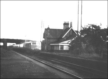 Photograph showing the Midland Pullman passing through the station in 1960