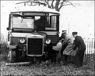 A Timson's bus in a bit of trouble in Polwell Lane - 1930s