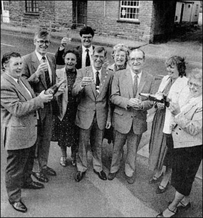 Members of the bypass committee.  Left to Right: John Cutmore, Christopher Groome, June Smith, Steve Thomas, Chairman of the town Council Ray Bryce, Janet Peck, Albert Morby, Joan Griffiths and Marion York.