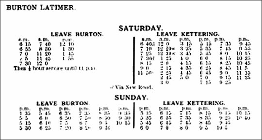 Meadows & Frost bus services to Burton Latimer 1929
