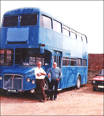 A former double-decker bus in Murrell's yard