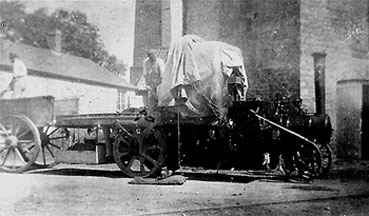 Photograph showing an unknown type of steam wagon at Wallis's Mill