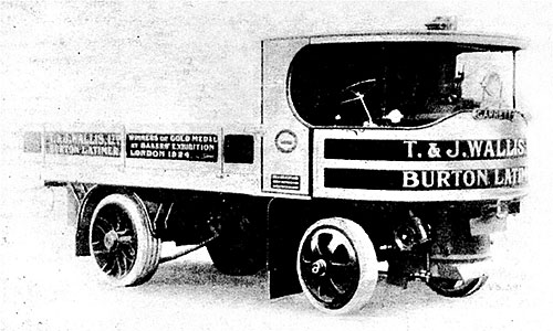 "Photograph showing a Garrett undertype steam wagon operated by T & J Wallis, flour millers, in 1925, from their mills in Station Road.  The vehicle was known locally as ""Puffing Billy""."