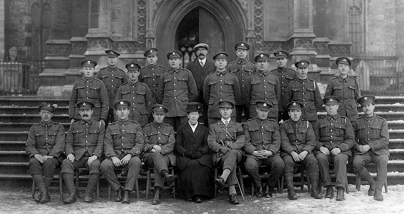 Returned Burton Latimer Prisoners of War, on the steps of Kettering Parish Church in February 1919