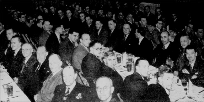 Members of the British Legion attending their annual dinner at the Alumasc Hall in 1949