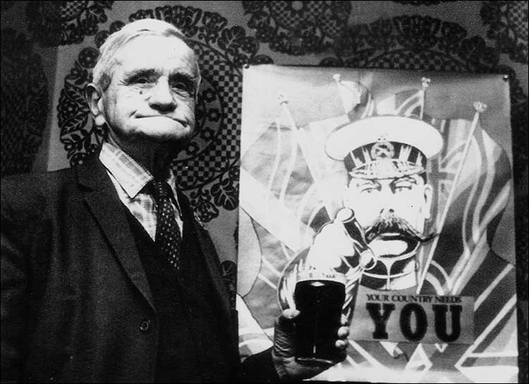 George Loak, 157th Labour Corps in 1914-18 enjoying a pint c1975