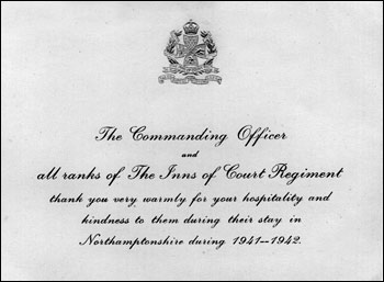 Card sent to residents of Burton Latimer by the C.O. of the Inns of Court Regiment