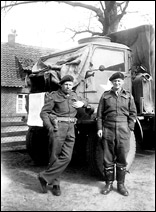 Reg Long (right) with supply truck