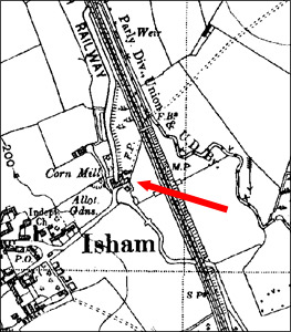 The site of Isham Mill, from a 1938 map.