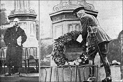Left: The Chairman of the Memorial Committee hands over the Memorial to the Council.  Right: General Lord Horne places the Parish's wreath on the Memorial.