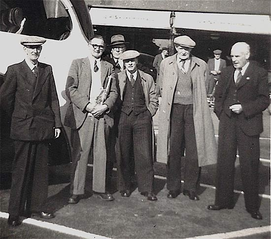 Legion members at Hitchin 1955. L to R: Mr Berwick, Mr Ball, Mr York, Mr Brace, ?, Mr Wright
